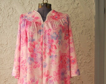 Vintage 1970s Floral Lounge Dress / Nightgown - Medium