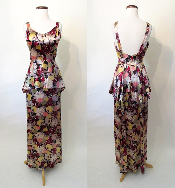 "Stunning 1930's Designer Silk Satin Floral Bias Cut Gown w/ Plunging Back and Peplum by ""Lord and Taylor"" Old Hollywood Glamour Size-Small"