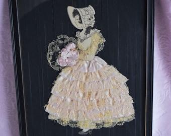 Antique Rare RIBBON LADY Paper Doll Silhouette PICTURE Silk Pink Lace Dress Frame Boudoir Floral Flower Art Deco Ribbonwork Hat Bonnet 1920s