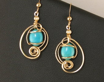 Turquoise Gemstone Gold Earrings, Unique Wire Sculpture Turquoise Earrings, Gold Wire Art Asymmetrical Turquoise Earrings, Turquoise Jewelry