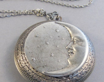 Under The Moon Too,Locket,Silver Locket,Moon,Star,Night,Goddess,Locket,Antique Locket,Antique,Moon,Love You,Moon Necklace. valleygirldesigns