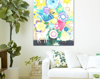 Vida. Original painting folk art ,wall art, luxury, flowers, floral, style, decor.