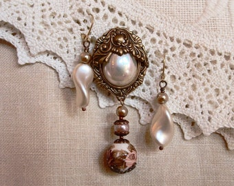 Vintage Style Brass Brooch with Faux Pearls
