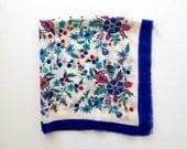 Vintage Wool Shawl * Folk Floral Scarf * Peasant Wrap Kerchief * Oscar de la Renta