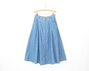 80s Denim Skirt * Button-up Jean Skirt * Vintage 1980s Denim Skirt * Small - Medium