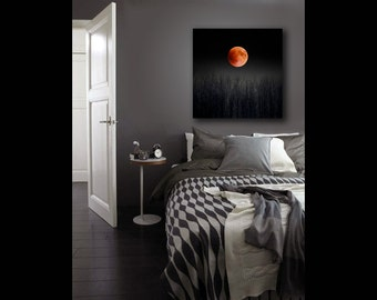 Blood Moon, Large Canvas Art, Pagan, 16x20 Canvas, 2015 Super Moon, Full Moon Print on Canvas