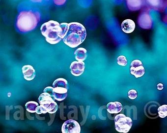 Kid's Bathroom Art Print, Blue, Purple, Bubbles, Powder Room Art, Bathroom Wall Art, Cyan, Teal, Laundry Room Decor