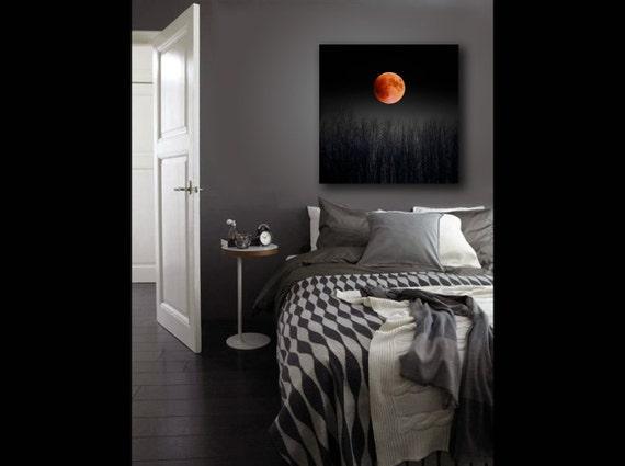 Blood Moon, Large Canvas Art, Halloween, Pagan, 16x20 Canvas, 2015 Super Moon, Full Moon Print on Canvas