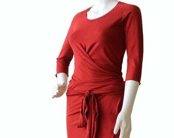 Wrap Dress, Plus size dress, Terracotta orange dress, Womens clothing, Knee length womens dresses, V neck dress, XL dress, XXL dress, Dress