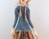 Cloth and clay Folk Art doll ooak sculpted blue eyes with bunny hat ooak sculpture #2 Dorothy