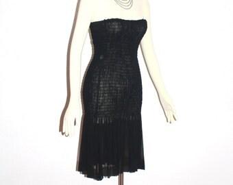 Vintage SAINT LAURENT Rive Gauche Dress Black Silk Chiffon Ruched Strapless - Authentic -