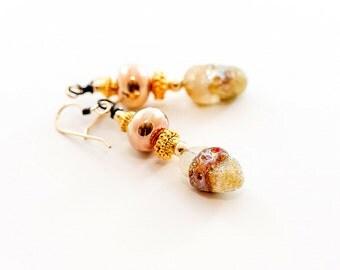 Rustic Gold Glass Bead Earrings. Ivory Gold Boho Earrings. Artisan Earrings. Lampwork Jewelry.