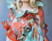 FREE SHIPPING -- Nunofelt Silk -- Wrap Wool Scarf Shawl with Brooch Flower -- OOAK --- Tropical Birds -- ruffle scarf - mint orange