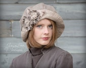 Wide Brim Cloche Hat Shabby Chic Neutral Browns Colors