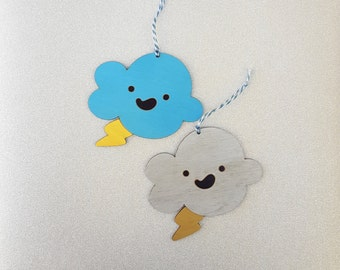 laser cut wood happy lightning cloud ornament // wall hanging // nursery