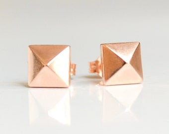 Rose Gold Pyramid Studs - 14K Pink Gold Pyramid Earrings - Stud Earings - Punk Rock Pyramids Studs
