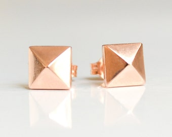 14K Rose Gold Pyramid Stud Earrings - Nickel Free Studs For Sensitive Ears - 14 Kt Faceted Pink Pyramids -Eco Friendly 14k Rose Gold Jewelry