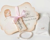 BAPTISM GIFT - Pearl Cross Bracelet Personalized religious kids jewelry charm card box baby girl pearl bracelet - baby jewelry Dutchpearl
