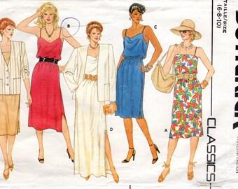 1980s Womens Sundress & Oversized Blazer - Vintage Pattern Butterick 6442 - Size 6