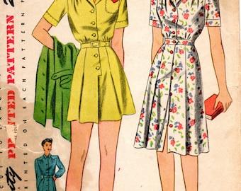 1940s Romper Playsuit & Skirt Pattern - Vintage Simplicity 4684 - Bust 40