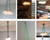 9 Pendant Light Cluster - Multiple Color Choose your own Colorful Wire Black Chrome Brass Nickle White Hardware - Incandescent Bulbs - LED