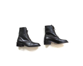 Vintage Ankle Boots 7 / Brown Leather Boots / Lace Up Boots