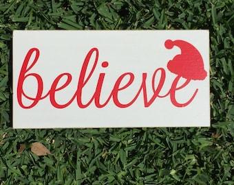 Christmas Decor ~ Merry Everything ~ Santa Claus ~ Believe Custom Wood Sign ~ I Believe ~ Christmas Decoration ~ Santa Sign ~ Santa Hat