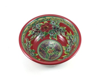 Floral Ceramic Bowl - Red Porcelain Dish - Classic Flower Design in Contasting Colors and Designs