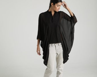 Slouchy Tunic / Sheer Blouse / Party Blouse / Oversized Womens Blouse / See Through Blouse / Top Tunic / marcellamoda - MB659