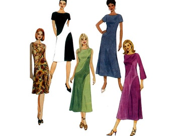 McCall's 4510 Bias Color Block Dress Pattern Out Of Print Size 8 10 12 14 Bust 31.5 32.5 34 36 inches UNCUT Factory Folded