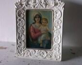 White Ornate Ceramic Frame .Vintage lithograph. Mary & Baby Jesus.  Religious Gift. Golden halos.