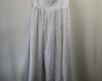 Simple, White Lace Strapless Dress