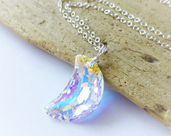 Moon Necklace, Swarovski Moon Necklace, Aurora Borealis, Crescent Moon, Wire Wrapped Pendant, Prism, Lunar, Space, Gift for Her