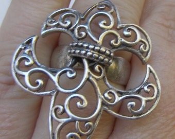 Fleur de Lys Ring, Sterling Ring, Fleur de Lis Ring, Big Bold Ring, Vintage Sterling Silver Jewelry, Knuckle Ring