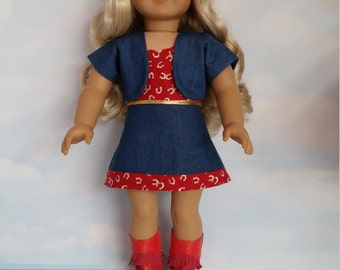 18 inch doll clothes -  #700 RED Cowgirl Outfit and Boots - FREE SHIPPING