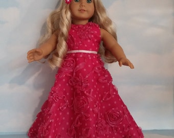18 inch doll clothes - #261 Pink Polka Dot Gown handmade to fit the American Girl Doll - FREE SHIPPING