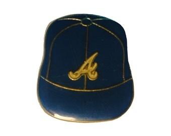 ATLANTA BRAVES Logo Baseball Cap mlb vintage enamel pin badge Atl Georgia