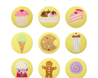 Hand Painted Knob - Children's Custom Hand Painted Sweets and Treats Drawer Knobs Pulls or Nail Covers for Kids