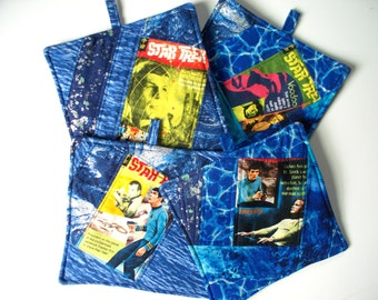 Star Trek Quilted Hot Pads,Heavy Duty,Thick Pot Holders,Leonard Nemo Spock,Captain Kirk,Enterprise, Piece Quilted Trivets, Quilted Art
