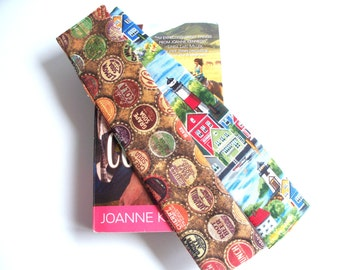 Lighthouses or Antique Soda Bottle Caps Weighted Bookmarks,Your Choice of Fabric Covered Weighted Bookmark,Seaside Lighthouse Town,BottleCap