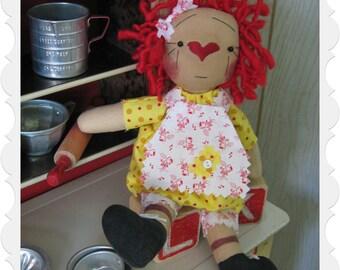 OOAK Primitive Minny Maid Raggedy Annie Doll w/Apron