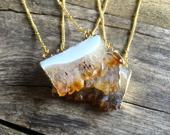 Raw Citrine necklace Rough Citrine point Yellow citrine cluster necklace Citrine druzy agate Citrine geode slice pendant Orange Quartz