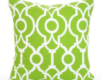 Green White Pillow Covers, Throw Pillow, Cushion Covers, Lime Green White Lyon, Euro Sham, Couch Bed Sofa , One or More ALL SIZES