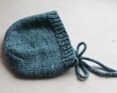 Newborn 0-4 Months Hand Knit Merino Wool / Cashmere / Silk Blend Luxurious Winter Blue Bonnet