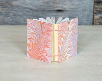 Mini pocked notebook with marbled handmade paper covers