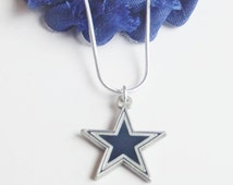 Dallas Cowboy Charm Necklace, Unisex Cowboys Necklace, Blue and White Jewelry, Football Fan Jewelry, Dallas Cowboy Jewelry, Football Bling