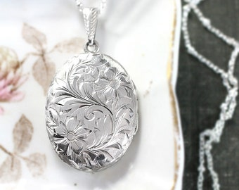 Small Oval Sterling Silver Locket Necklace, Hand Chased Engraved Floral Vintage Photo Pendant - Forever Love