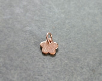 Hand Stamped Rose Gold Initial Charm, Daisy Flower Shaped Custom Pendant - Add a Dangle