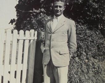 Vintage Photo - Man Stood by a Garden Gate
