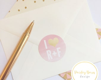 STICKERS for your skincare business|round envelope seals, watercolor, pink, gold, R+F